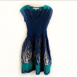 MAX STUDIO Navy and Green Fitted Flowing Dress
